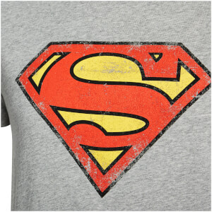 DC Comics Men's Superman Distressed Logo T-Shirt - Grey: Image 3