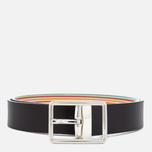 Paul Smith Men's Reversible Stripe Belt - Black