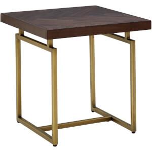 Fifty Five South Brando Side Table - Acacia Veneer/Antique Brass