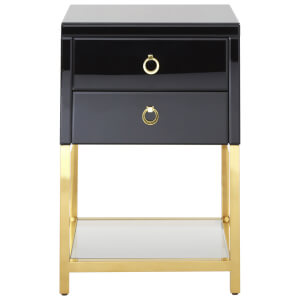 Fifty Five South Kensington Townhouse Side Table (2 Drawers) - Black/Gold