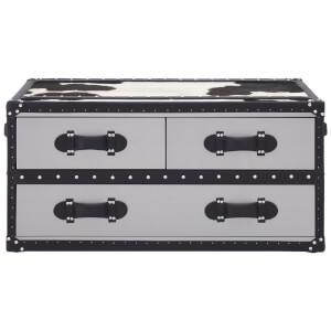 Fifty Five South Kensington Townhouse Coffee Table - Black/White Cowhide