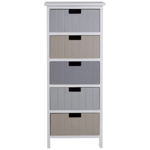 Fifty Five South New England Five Drawer Chest - White/Pastel