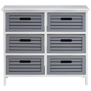 Fifty Five South Vermont Six Drawer Unit - Grey/White Wash