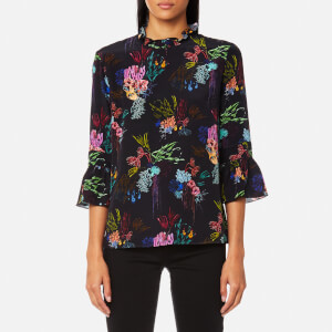 PS by Paul Smith Women's Mercury Floral Frill Neck Top - Black