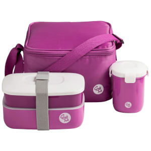 Grub Tub Lunch Box with Cool Bag and Sealing Cup - Pink