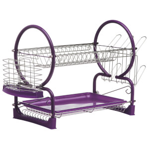 2 Tier Dish Drainer - Chrome/Purple