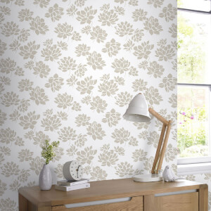 Superfresco Lotus Flower Glitter Wallpaper - Gold