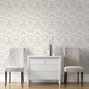Boutique Cork Damask Metallic Textured Wallpaper - Cream/Pale Gold