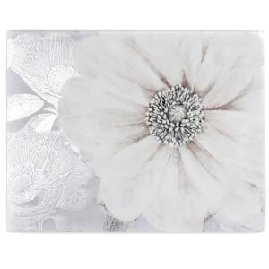 Graham & Brown Grey Silver Metallic Bloom Floral Printed Canvas Wall Art
