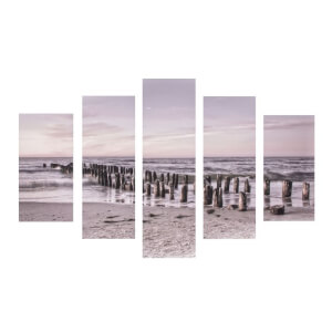 Art For The Home Tranquil 5 x Set Seascape Printed Canvases Wall Art
