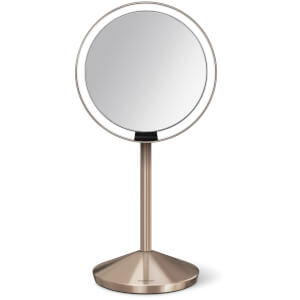 simplehuman Stainless Steel Rechargeable 10x Magnification Sensor Mirror with Travel Case - Rose Gold 12cm