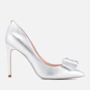 Ted Baker Women's Azeline Double Bow Leather Court Shoes - Silver/Silver