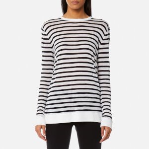 T by Alexander Wang Women's Long Sleeve Crew Neck T-Shirt - Ink/Ivory