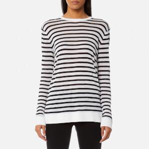 T by Alexander Wang Women's Long Sleeve Crew Neck T-Shirt - Ink/Ivory