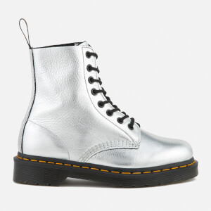 Dr. Martens Women's Pascal Metallic Leather 8-Eye Lace Up Boots - Silver