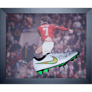 Eric Cantona Signed and Framed Boot with Domed Frame Finish