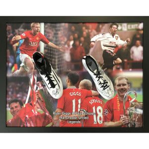 Ryan Giggs and Paul Scholes Dual Signed and Framed Boots with Domed Frame Finish