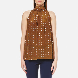 Diane von Furstenberg Women's Sleeveless High Neck Blouse - Arbor Dot Kola Ardko