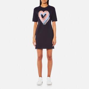 Love Moschino Women's Heart Short Sleeve Sweatshirt Dress - Navy