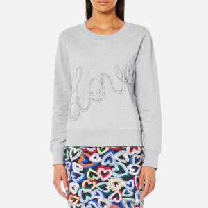 Love Moschino Women's Ruffle Love Logo Sweatshirt - Grey