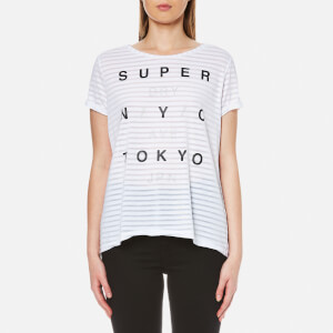 Superdry Women's NYC Burnout Stripe Boyfriend T-Shirt - Optic White