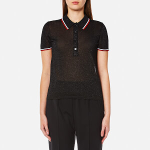 Alexander Wang Women's Polo Shirt with Contrast Striping Trims - Onyx