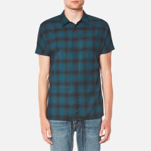 Helmut Lang Men's Ombre Plaid Short Sleeve Shirt - Green