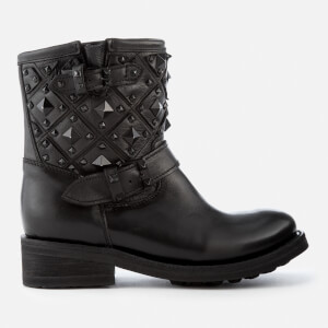 Ash Women's Trone Leather Studded Biker Boots - Black