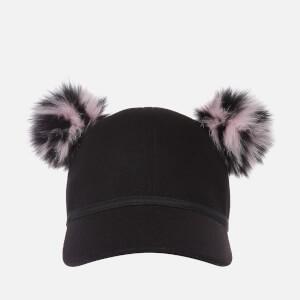 Charlotte Simone Women's Faux Fur Sass Cap - Pink/Black Stripe