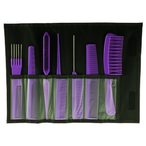 Salon Smart 7 Comb Set In Folding Pouch Purple