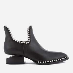 Alexander Wang Women's Kori Leather Studded Heeled Ankle Boots - Black