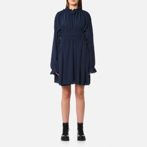 MM6 Maison Margiela Women's High Neck Fluid Dress - Blue Navy