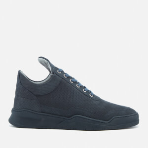 Filling Pieces Men's Ghost Perforated Suede Low Top Trainers - Blue
