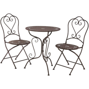 Finchwood Jardin Antique Wrought Iron Table Set - (3 Piece) Antique Brown