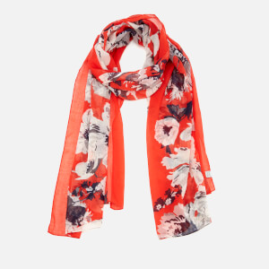 Joules Women's Wensley Woven Scarf - Soft Red Posey