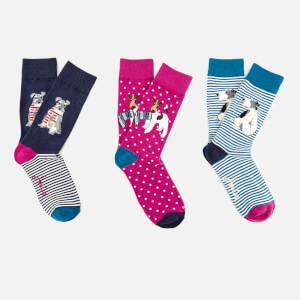 Joules Women's Brilliant Bamboo 3 Pack Socks - Xmas
