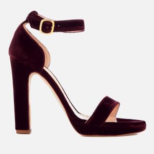 44510ea819d5 Rupert Sanderson Women s Preciosa Velvet Platform Heeled Sandals - Mulberry