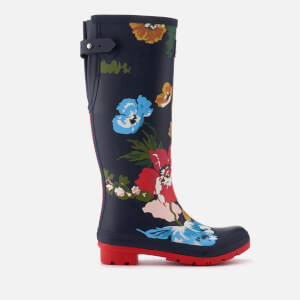 Joules Women's Adjusta Adjustable Gusset Printed Wellies - French Navy Posy