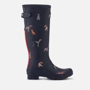 Joules Women's Adjusta Adjustable Gusset Printed Wellies - French Navy Cosy Dogs