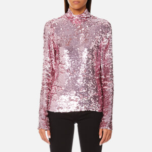 MSGM Women's Sequin High Neck Top - Pink