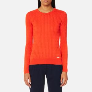 GANT Women's Sporty Cable Crew Neck Jumper - Fiesta Orange