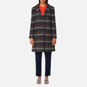GANT Women's Checked Mohair Coat - Anthracite Melange
