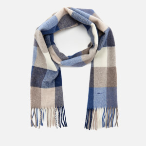 GANT Women's Multi Check Lambswool Scarf - Hurricane Blue