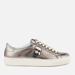 Karl Lagerfeld Women's Kupsole Leather Karl Ikonik Low Lace Trainers - Dark Silver Mirror