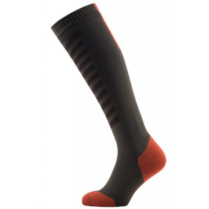 Sealskinz MTB Mid Knee Socks - Olive/Orange
