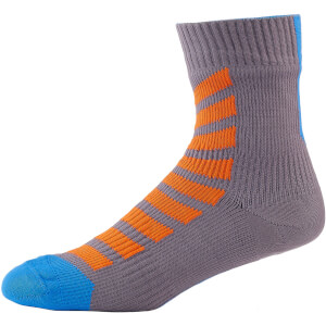 Sealskinz MTB Ankle Socks with Hydrostop - Anthracite/Orange/Blue