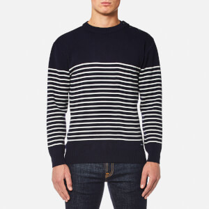 Armor Lux Men's Button Shoulder Half Stripe Knitted Jumper - Navire/Nature