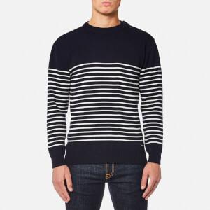 Armor Lux Men's Button Shoulder Half Stripe Knitted Jumper - Navire/Nature