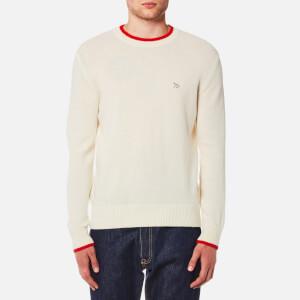 Maison Kitsuné Men's Lambswool Round Neck Pullover Jumper - Ecru