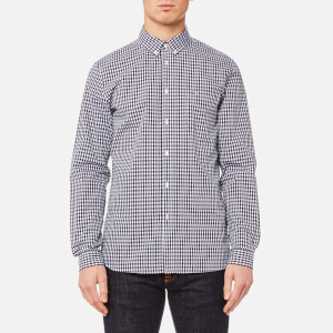Lacoste Men's Gingham Long Sleeve Shirt - Navy Blue/White